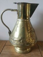 Antique Arts And Crafts Movement Brass lidded jug crockodies