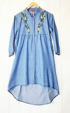 RESTART Jeans tunica abito camicia tg. L denim celeste ricamo boho NUOVO