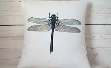 """Dragonfly - 16"""" Copricuscino Francese Shabby Chic Vintage-UK Fatto a mano"""