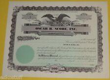 Oscar B. Score Inc. Blank Unused $100 Stock Certificate 1950s Wisconsin Corp See