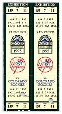 1995 Two Colorado Rockies New York Yankees 3/31 & 4/1 Exhibition Tickets *ST1M