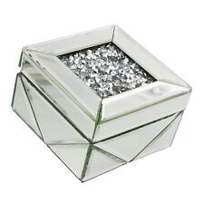 NEW MIRRORED JEWELLERY BOX WITH CRUSHED DIAMOND BLINGY TOP, GLITZY BEDSIDE BOX