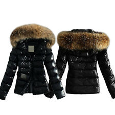 Women Fur Collar Winter Warm Coat Leather Quilted Jacket Overcoat Parka Outwear