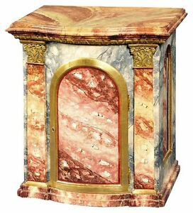 """* 18th Century 26"""" high Cabinet Tabernacle Faux Marble Paint Carved Gilt"""