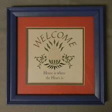 Folk Art Welcome Sign - Home is Where the Heart Is - Matted and Framed