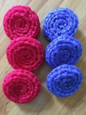 6 NYLON NET POT SCRUBBIES - 3 Red And 3 Blue