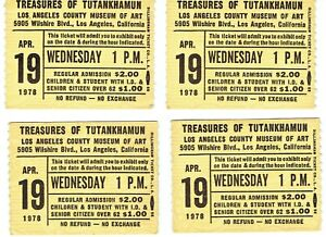 1978  L.A. County Museum Treasures of Tutankhamun King Tut Ticket Stubs