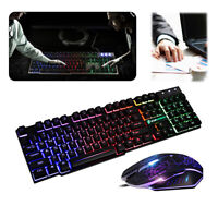 LED Gaming Keyboard & Mouse Set Mechanical Feel Breathable Light Backlit for PC