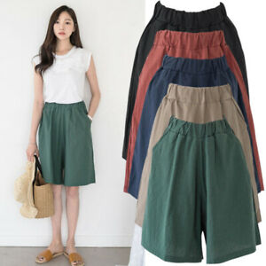 Plus Size Womens Pants Shorts Casual Loose Plain Summer Beach Sports Cropped Fit