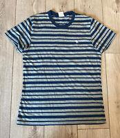 Abercrombie & Fitch Men's Crew T Shirt Grey Blue Striped Medium Cotton Blend