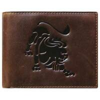 Unique Bi-Fold Brown Genuine Leather Wallet ID Credit Card Holder Zodiac LEO