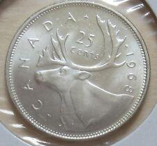 1968 Canada Silver Twenty-Five Cents Coin (UNC. Quarter) (R-FWB)