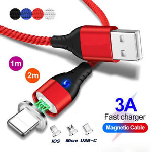 3A Quick QC3.0 Charger Magnetic USB Cable For iPhone 11 X XS Magnet Type-C Phone