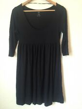 H&M Size M Empire Line Scoop Neck 3/4 Sleeve Stretch Dress Black <BC573