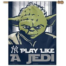 """NEW YORK YANKEES PLAY LIKE A JEDI STAR WARS 27""""X37"""" BANNER FLAG NEW WINCRAFT"""