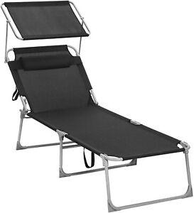 XXL Sonnenliege, Liegestuhl, Gartenliege, mit Kopfstütze und Sonnendach GCB22BK