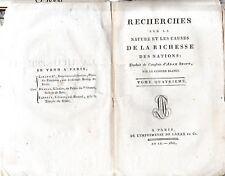 SMITH-RECHERCHES SUR LA NATURE ET LES CAUSES DE LA RICHESSE-LIVRE ANCIEN TOME 4
