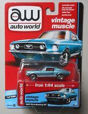 1967 AQUA POLY FORD MUSTANG GT AUTO WORLD DIE-CAST 1:64 CAR w BOX