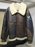 AVIREX Authentic Leather Mouton B-3 Flight Jacket AC-17755 Brown Size 40 #555