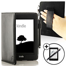 Funda Inteligente De Cuero Negro Correa Amazon Kindle Paperwhite 2015 Pantalla Prot Stylus