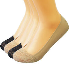 kilofly No Show Silicone Heel Grip Non-Skid Socks 4 Pairs Black & Beige Low Cut