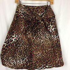 Ellen Tracy Skirt 100% Silk Leopard Print Bubble A-Line Self Tie Attached Belt 6