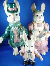 Ceramic Bunny Family Long ear set of 3 Easter collectibles.BEAUTIFUL Flawless