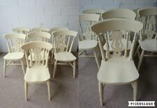Refurbished Painted Fiddle Back Country Style Kitchen Dining Chairs in Cream