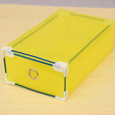 Metal Edging Clear Shoe Boxes Storage Stackable Drawer Container Transparent Box