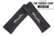 """2x Seat Belt Covers Pads Black Leather """"Miata"""" White Embroidery for Mazda"""