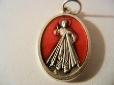 """Divine Mercy 1"""" Red Enamel   Oval Medal NEW Made in Italy """"JESUS I TRUST IN YOU"""""""