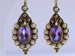 E128 Genuine 9ct 9K Gold Natural Amethyst & Pearl Earrings Drops Antique style