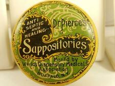 Antique TIN Dr PIERCES Vaginal SUPPOSITORIES Buffalo NY Advertising Round