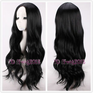 Hot Sell Fashion Sexy Long Black Curly Women's Lady's Hair Wig Wigs +a wig cap
