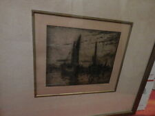 SIGNED IN PENCIL WOOD FRAMED NAUTICAL ETCHING INTERNATIONAL SALE