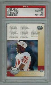 JERRY RICE - 1996 LEAF Checklist Card #188 San Francisco 49ers HOF PSA 10 POP 3
