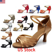 US Women Classic Tango Ballroom Party Latin Salsa Dance Shoes Kitten Heel Sandal