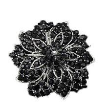 Free Shipping 1Pcs Female Black Rhinestones Wedding Party Bridal Brooch Pin
