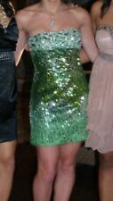 Sherri Hill Sequin Strapless Bustier Dress Size 4 Green Ombre Party Prom Dance W