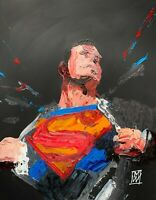 ORIGINAL Abstract Superman Opening Shirt Clark Comic Wall Art Painting 11x14""