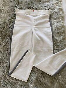 Spanx Side Stripe Distressed Skinny Jeans Legging - 20234R - White - Large