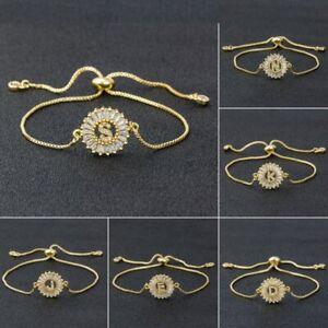 Fashion Crystal Zircon Initial Letter Bracelet Adjustable Bangle Women Jewelry