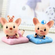 LK_ 2Pcs Lie Down Cartoon Pig Cushion Car Desk Decor Mini Ornament Kid's Toy D