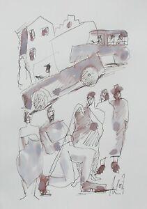 Zeichnung Stadt Max Müller Kunstakademie Düsseldorf Tusche Unikat Papier