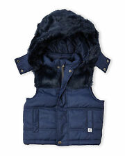 New FRENCH CONNECTION Navy Blue FauxFur Trim Hood Puffer Vest Girl16/Women S$100