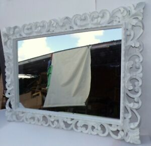 Mirror Baroque Wooden Inlaid CMS 100x80 White Antiqued Model Tommy