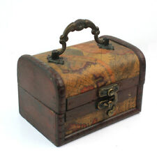 Wooden Jewelry Boxes Decor vintage small Treasure Chest Wood Crate Ancient Style