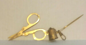 Viintage Small Gold Tone Sewing Scissors with Attached Thimble Large Needle
