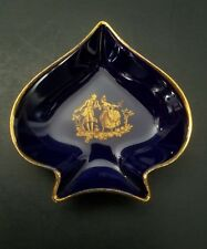 "Vtg Limoges France Porcelain Small Gold & Dark Blue Small Trinket Dish 3"" x 3"""