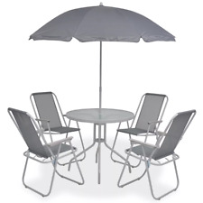 6 Piece Grey Outdoor Dining Set Chair Table With Parasol Patio Garden Furniture